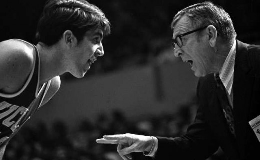 UCLA forward Greg Lee gets instruction from Coach John Wooden during a game. Photo Credit: UCLA. One time use with story only before July 1, 2010. NO HANDOUT. NO SALES. Not for use for others outside Tribune Co. NO ARCHIVING.