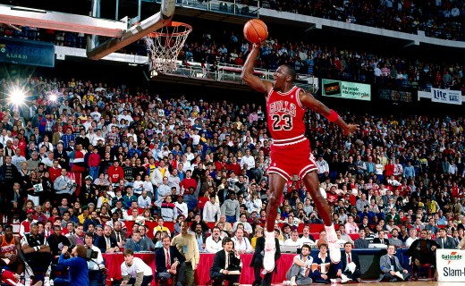 7 Feb 1988: Michael Jordan #23 of the Chicago Bulls goes for a dunk during the 1988 NBA All Star Slam Dunk Competition at Chicago Stadium in Chicago, Il. Jordan went on to win the Slam Dunk Competition.  HIGH RESOLUTION FILE 42 MB. NOTE TO USER: User expressly acknowledges and agrees that, by downloading and/or using this Photograph, User is consenting to the terms and conditions of the Getty Images License Agreement. Mandatory copyright notice and Credit: Copyright 2001 NBAE  Mandatory Credit: Andrew D. Bernstein/NBAE/Getty Images