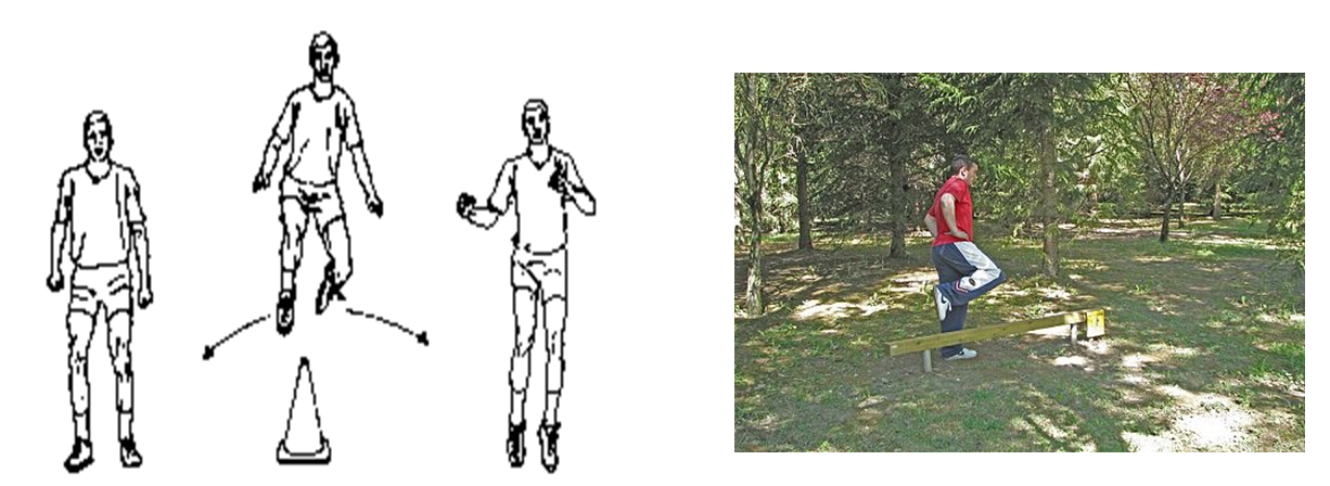 Propiocepción: Salto lateral con una pierna recepción de pelota y devolución